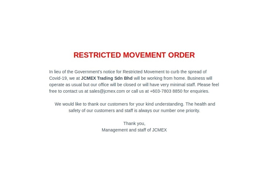 RESTRICTED MOVEMENT ORDER 18th-31st MARCH 2020